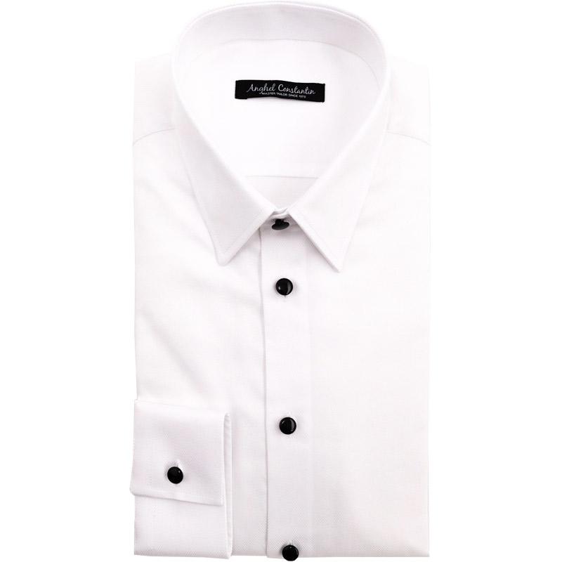 Camasa alba cu butoni negri | Anghel Constantin Tailoring
