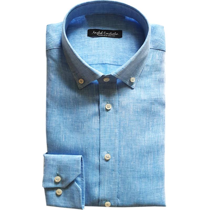 Camasa bleu din in | Anghel Constantin Tailoring