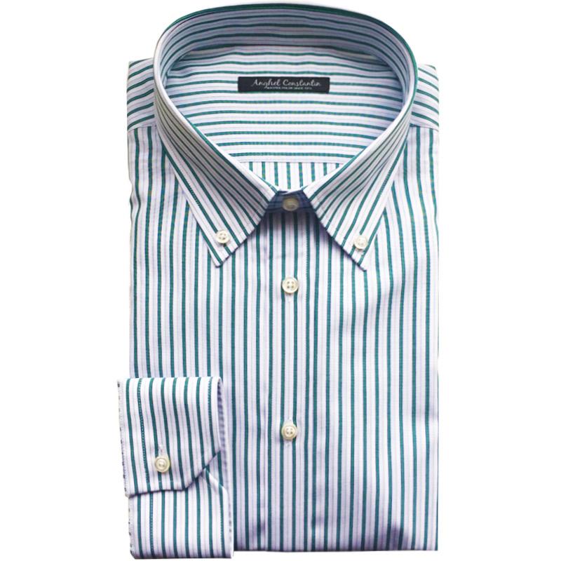 Camasa bumbac premium cu dungi verzi | Anghel Constantin Tailoring