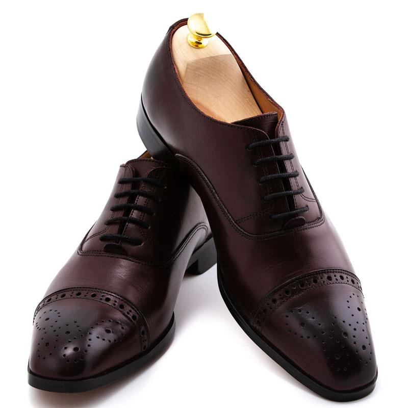Pantofi barbatesti burgund la comanda | Anghel Constantin Tailoring