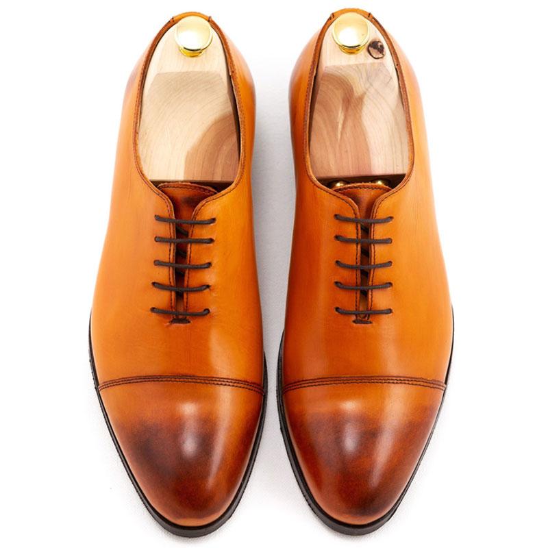 Pantofi barbatesti patina coniac | Anghel Constantin Tailoring