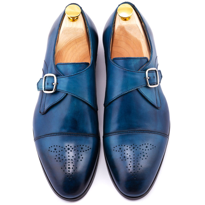Pantofi barbat monk denim la comanda | Anghel Constantin Tailoring