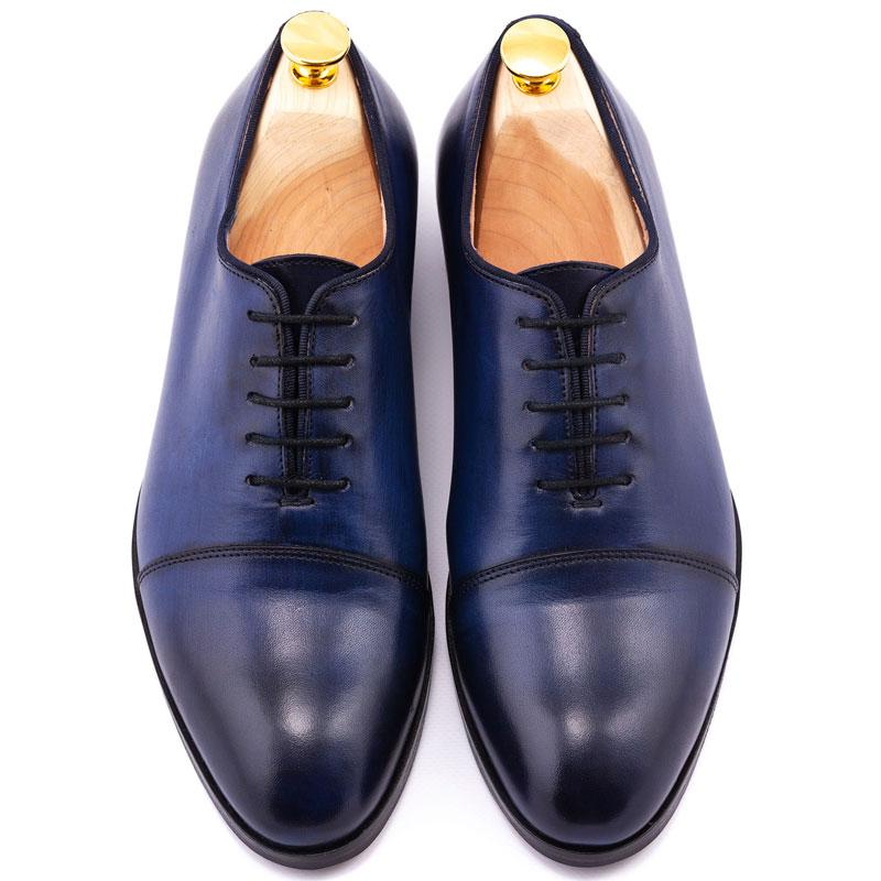 Pantofi piele patinata albastri | Anghel Constantin Tailoring
